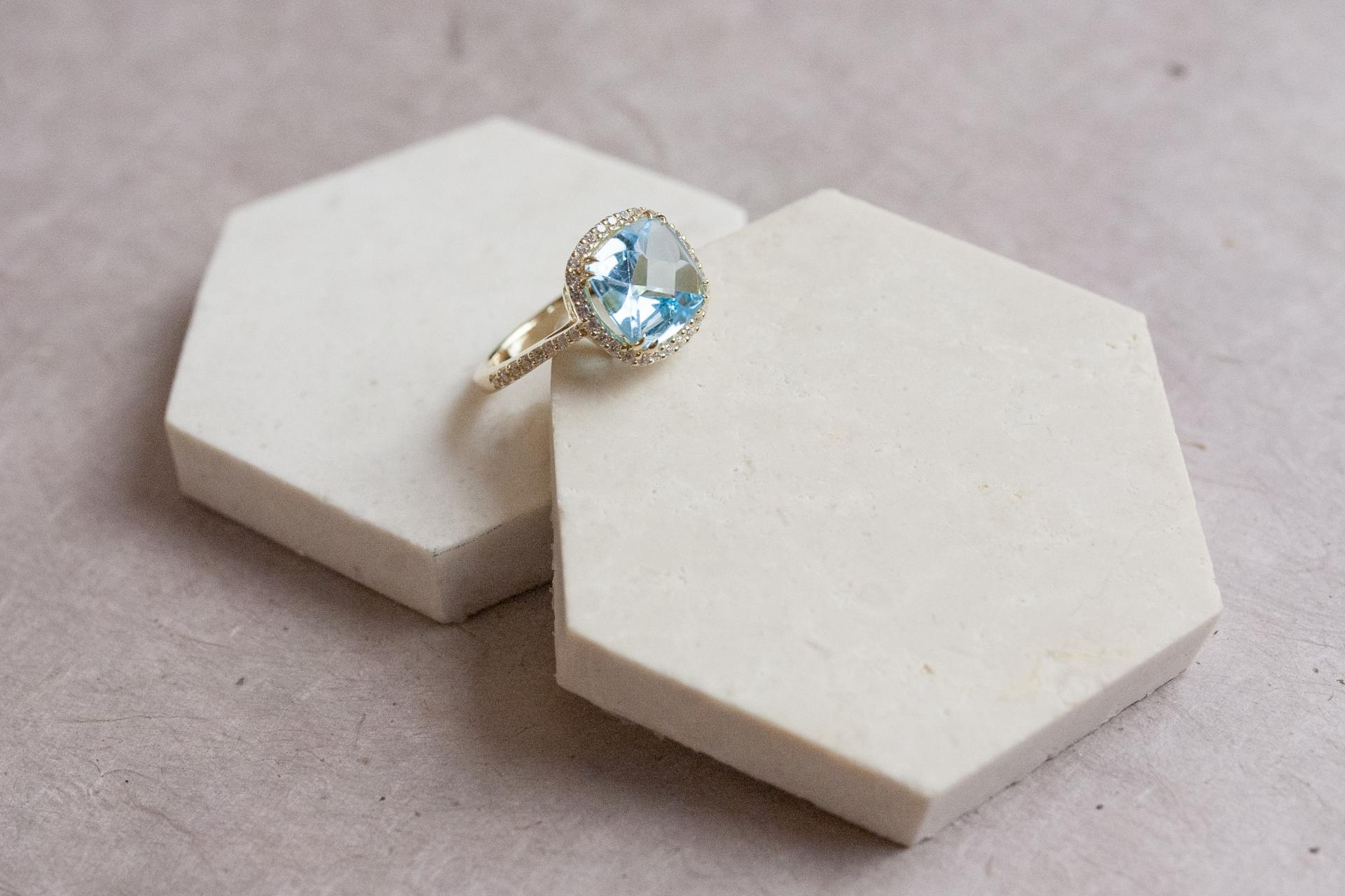 Bague square shape blue topaz 2