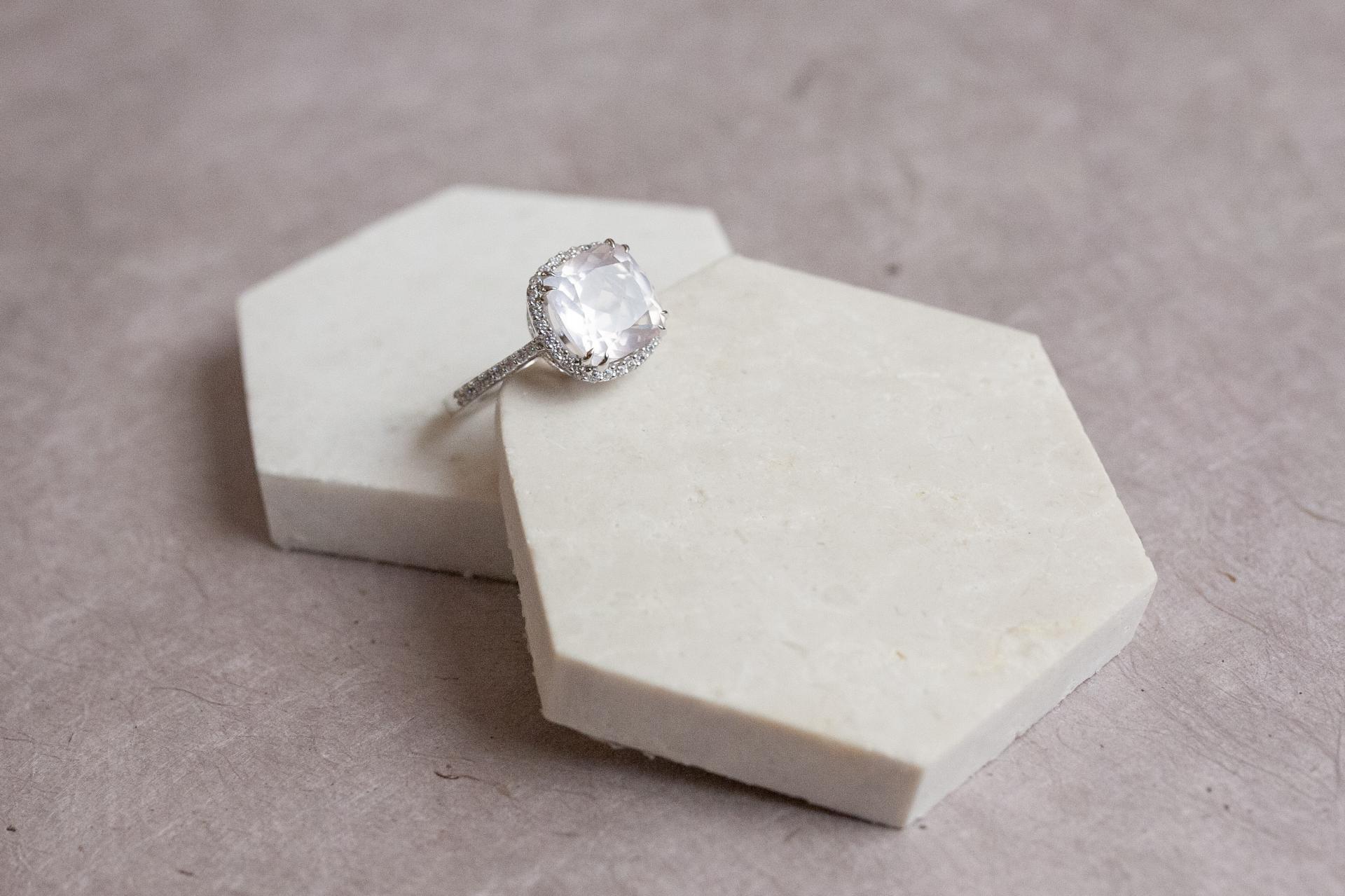 Bague square shape rose quartz