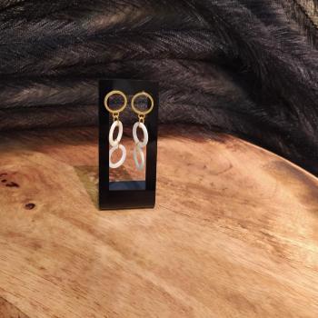 Boucles d'oreilles  en Argent & nacre ref 316
