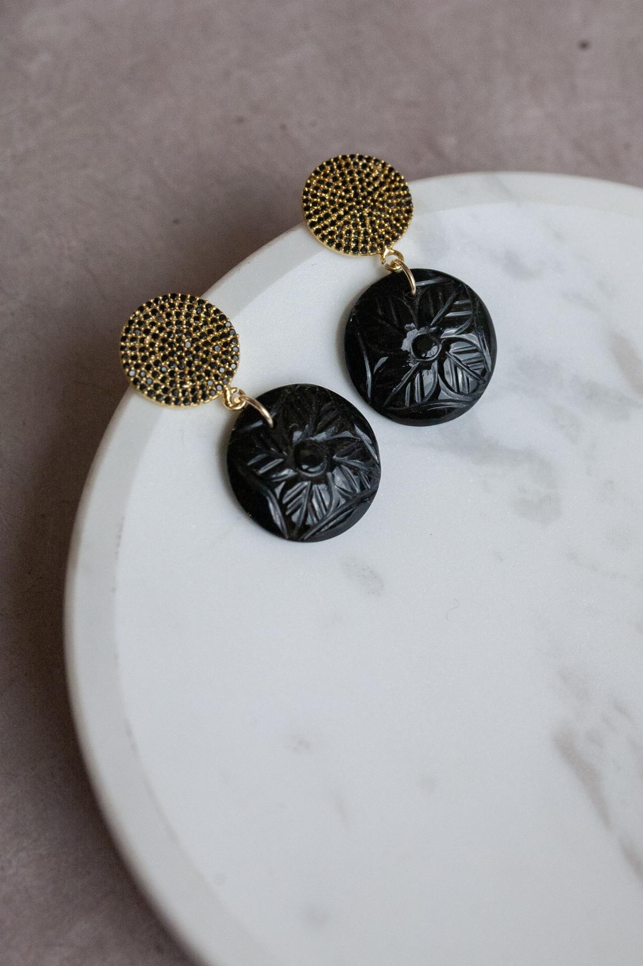 Boucles black onyx and spinnel