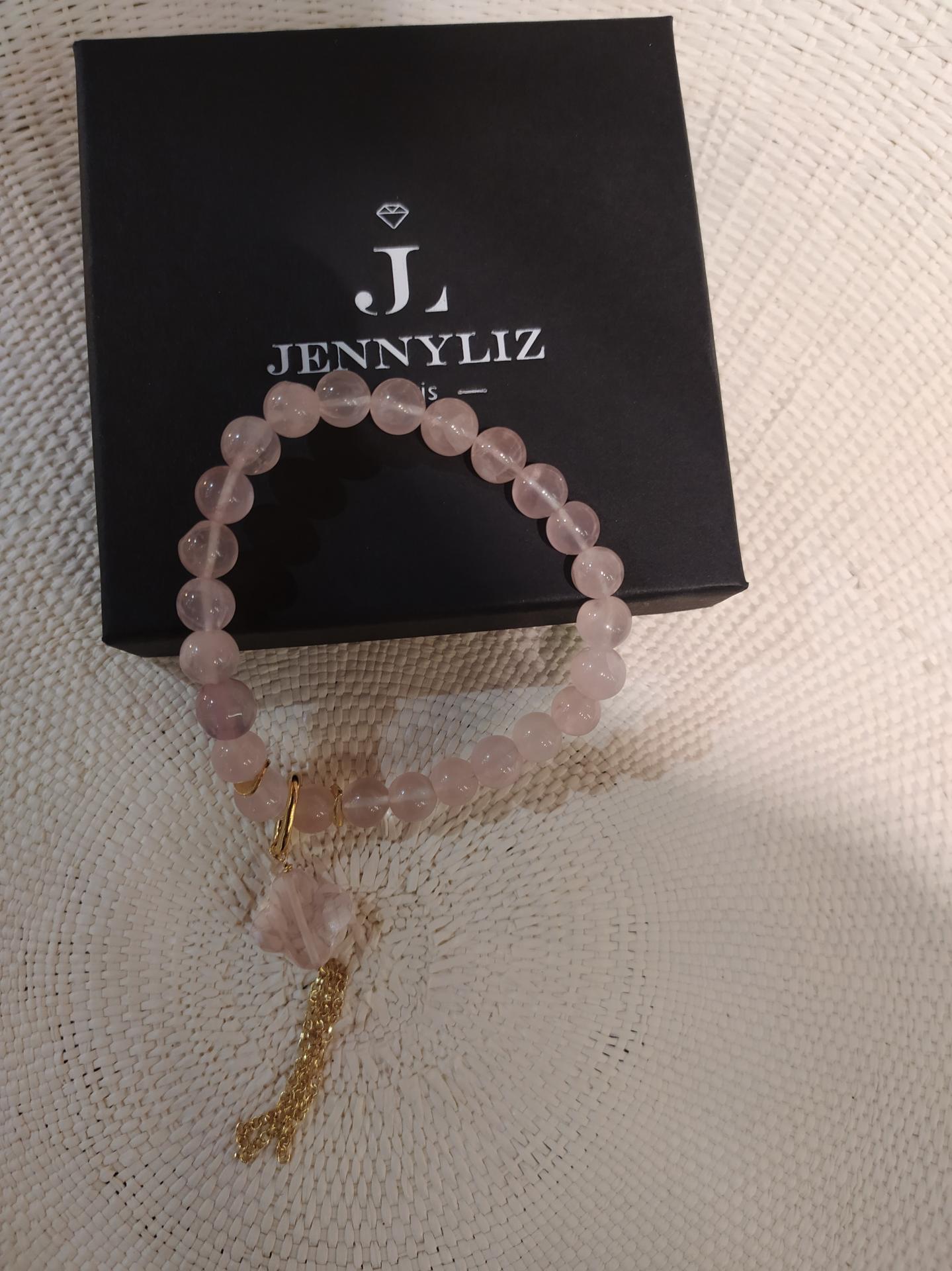 Bracelet rose quartz avec chaine 1 1 33 gr convient pour poignet entre 14 a 16cm