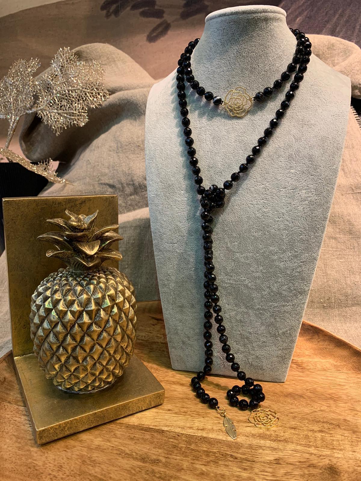 Collier onyx et jade noir