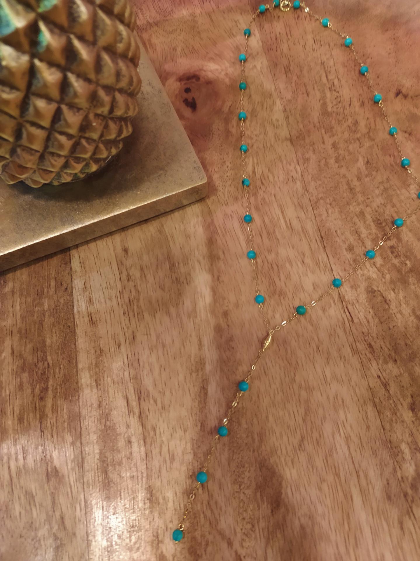 Collier ref 273 1 51 gr prix 75 eur turquoise 3 mm ras de cou longueur 44 cm et extention 8 cm 1
