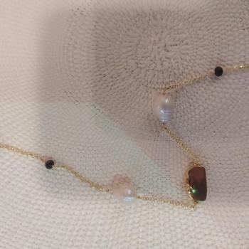 Sautoir en Argent , perles et  pierres  ref 365